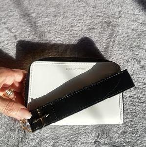Pour la Victoire whit + black wristlet wallet